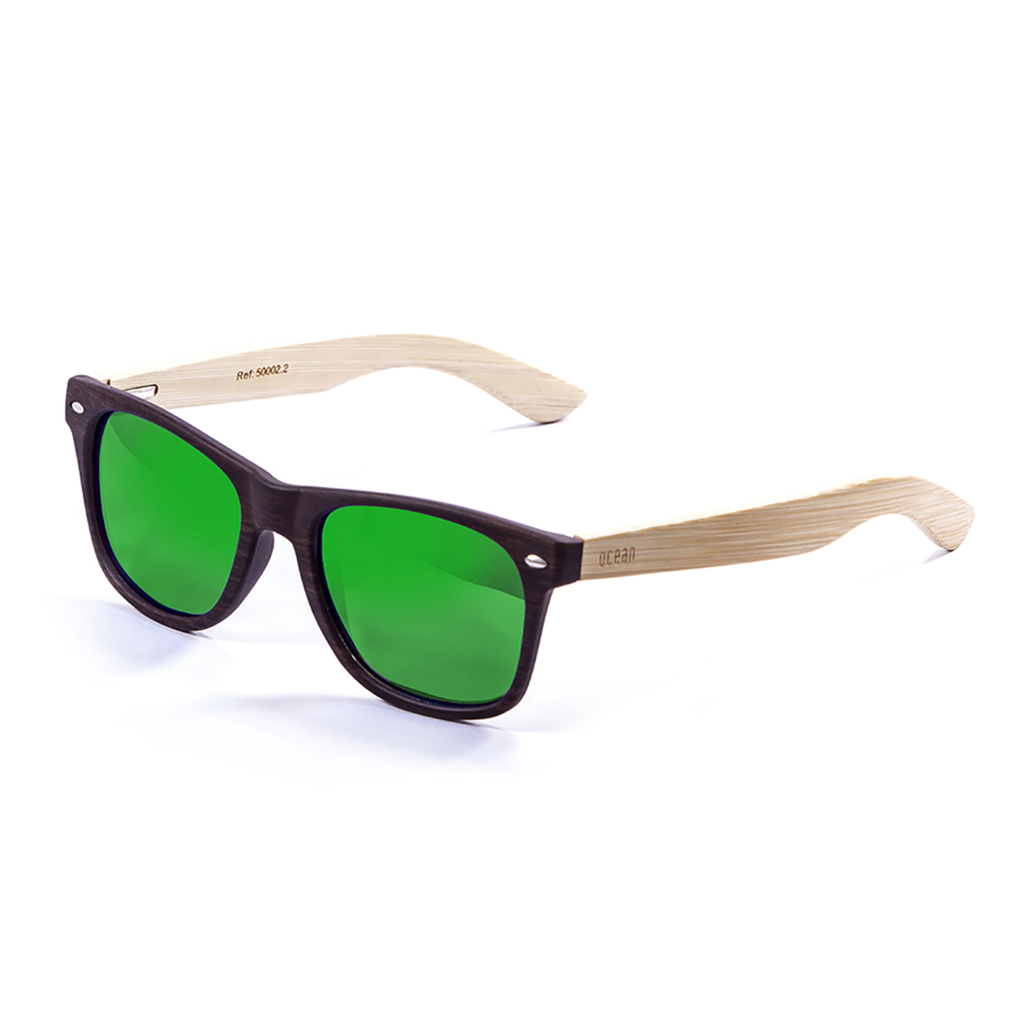 OCEAN BEACH WOOD bamboo natural  arm with dark brown frame with green revo lens 50002.2